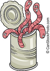 dizendo, vermes, caricatura, lata