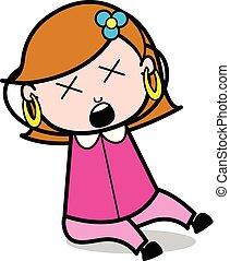 Dizziness - Retro Cartoon Female Housewife Mom Vector Illustration