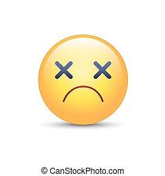 Dizzy emoji face. Cross eyes emoticon vector icon. Sad smiley.