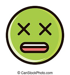 dizzy face funny smiley emoticon expression line and fill icon