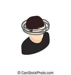Dizzy head icon, isometric 3d style