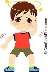 Dizzy Kid - Cute little kid boy feeling unwell dizzy