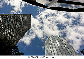 dizzying success - dramatic view of skyscrapers in...