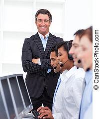 djärv, centrera, presenterande, ringa, affärsman