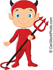 djævel, cartoon, rød