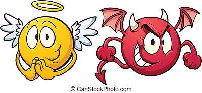 djævel, emoticons., engel