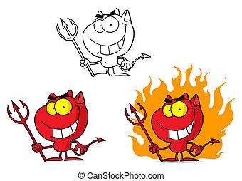 djævel, halloween, rød