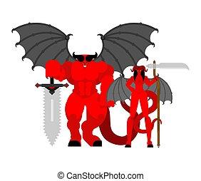 djævel, kvinde mand, warrior., djævel, familie, strong.,...