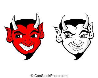 djævel, /, satan, clips kunst