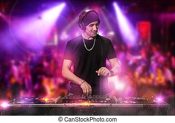 dj, é, trabalhar, a, discoteca