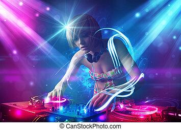 dj, énergique, lumière, puissant, musique, effets, mélange, ...