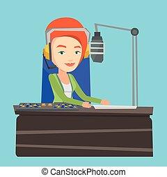 dj , εργαζόμενος , εικόνα , μικροβιοφορέας , ραδιόφωνο , γυναίκα