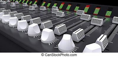 dj, 混合の 机, sliders, そして, ノブ