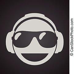dj, 男性, 陰, イラスト, ヘッドホン, シャッター, ベクトル, 印刷, sunglasses., アイコン