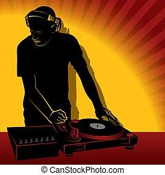 DJ action - Coloured illustration.