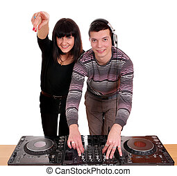 dj and beautiful girl dance music