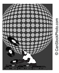 Dj and Disco Ball - Silhouette of a dj playing records with...