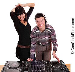 dj and girl techno party