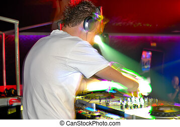 dj at work - deejay at work, in motion, blur