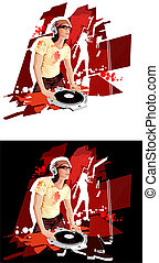 DJ at work - DJ with the turntable