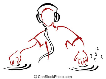 DJ behind console - Illustration of DJ mixing music isolated...