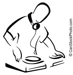 Illustration of DJ mixing music isolated on white