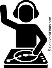 DJ behind turntables