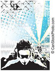 dj, blauer hintergrund