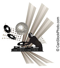 Dj - Clip-art with dj, records, turntable and shining disco ...
