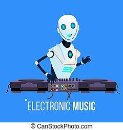 dj, clube, isolado, ilustração, robô, chumbos, música, vector., noturna, partido, eletrônico, tocando
