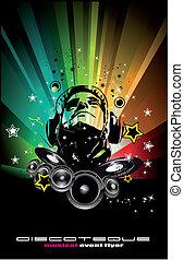 dj, coloridos, queimadura, discoteca, fundo, voadores,...