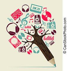 dj, conceito, música, árvore, lápis
