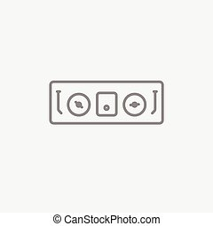 DJ console line icon for web, mobile and infographics. Vector dark grey icon isolated on light grey background.