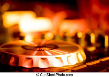 DJ console mixing desk Ibiza house music party nightclub -...