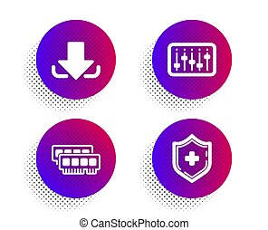 dj, controlador, ícones médicos, escudo, sinal., ram, set., download, vetorial