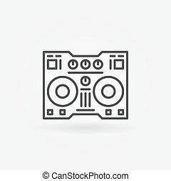 DJ controller linear icon - vector thin line digital DJ...