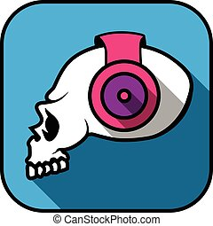 dj, cranio, ilustração, criativo, vetorial, vista lateral