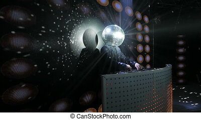 dj dancing with disco ball on his head