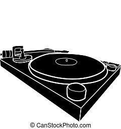 dj decks - Black and white illustration of DJ deck with...
