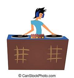 dj, decks., ilustração, isolado, jovem, atrás de, vetorial, música, white., tocando, homem