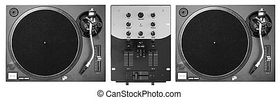 DJ Decks - A set of two turntables and a mixer.