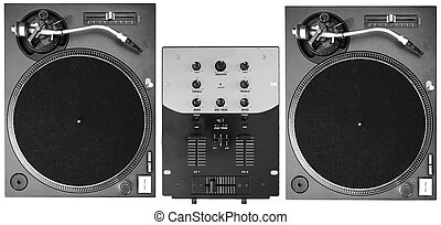 DJ Decks - A set of two turntables and a mixer isolated on...