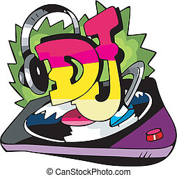 "Abstract design with ""DJ"" inscription, ear-phones and a vinyl record. Vinyl-ready EPS Illustration."