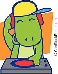 DJ Dinosaur vector art