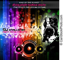 dj, disco, achtergrond, flyers, alternatief, gegil