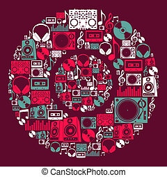 dj, disque, musique, icônes
