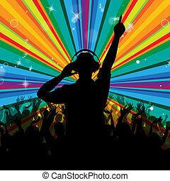 dj, divertissement, disc-jockey, disco, faisceau, spectacles