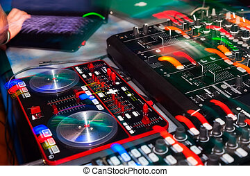 dj - DJ stand in the club glow