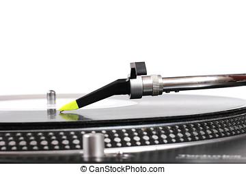 dj-drehscheibe, nadel, und, der, vinylaufzeichnung