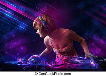 dj, drehscheiben, licht, junger, farbe, effekte, spielende